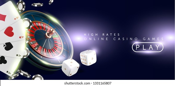 Online casino banner or flyer background. Casino roulette wheel isolated on blue background. 3d realistic vector illustration. Online poker casino roulette gambling concept design