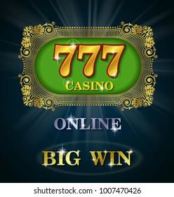 Online casino calligraphic, Big win, Excitement, Prize, Pleasure, Vector illustration