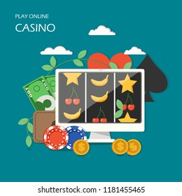 Online casino concept vector illustration. Internet slot machine game on computer screen, poker chips, dollar coins, wallet with paper money. Flat style design element for poster, banner etc.