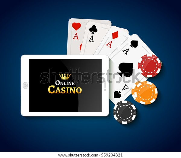 Online Casino Design Poster Banner Tablet Stock Vector