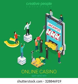 Online casino flat 3d isometric luck success gambling concept. Micro people and huge smart phone tablet device spin the wheel jackpot coin cube. Creative people collection