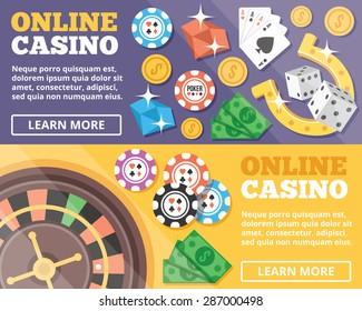 Online casino flat illustration concepts set. Flat design concepts for web banners, web sites, printed materials, infographics. Creative vector illustration
