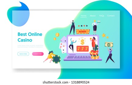 Online Casino Gambling Concept Landing Page. Happy Male Character Win Jackpot 777. People Play European Roulette. Hold Money Sign Website or Web Page. Flat Cartoon Vector Illustration
