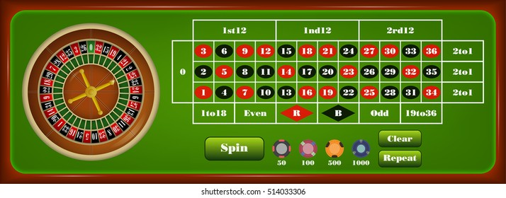 Online casino gambling set with european roulette wheel and chips stacks and button for play isolated vector illustration