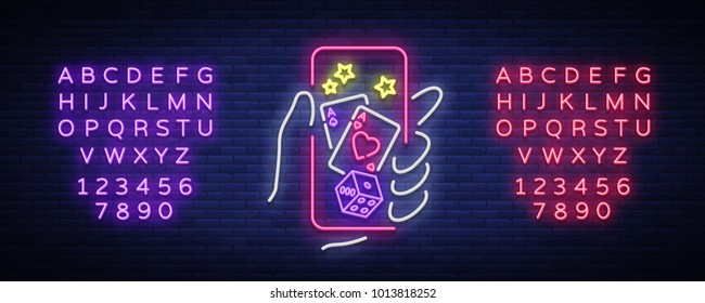 Online casino is a neon sign. Logo symbol in neon style svityaschyysya bright banner billboard night, bright neon poker, gambling casino Play money online. Vector illustration. Editing text neon sign