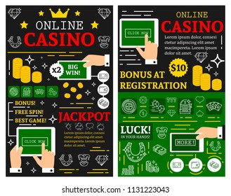 Online casino or poker cards gamble game posters for jackpot gambling. Vector brochure thin line art design of online casino poker dice, playing cards and win money golden coins for internet gambling