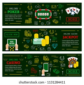 Online casino poker web banners for jackpot gambling. Vector thin line art design of dice, playing cards and win money golden coins for online poker or internet casino gamble games
