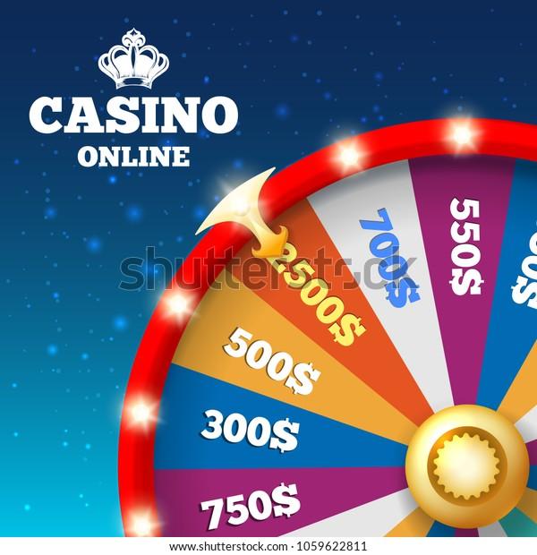 Online Casino Poster Money Spin Wheel Stock Vector (Royalty