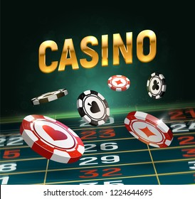 Online casino vector illustration. Black and red chips falling on gaming table with golden text on dark background