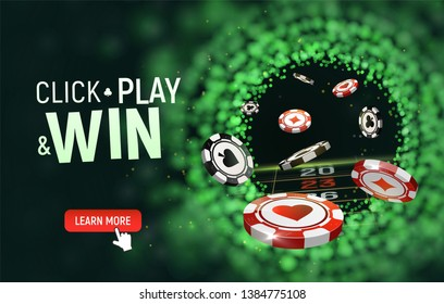 Online casino vector illustration. Black and red chips flying on blurred background. Click, play and win text