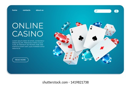 Online casino. Web landing page template for internet poker game. Vector gambling illustration flying poker cards, chips game elements