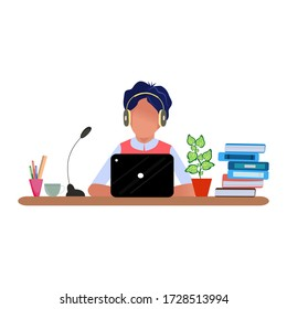 Online chat. Communication with the client. Man at work with headphones and a microphone with a laptop. Concept illustration of work at home, for support, assistance, call center. Flat cartoon style.