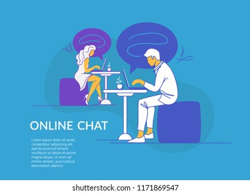 Online chat concept vector illustration of young couple sitting at the tables in cafe and using laptop messenger. Modern line design of guy and girl typing messages in social media and dating service