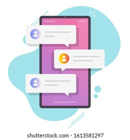 Online chat messages text notification on mobile phone vector or flat cartoon smartphone sms speech bubbles push alerts on screen, digital or electronic chatting on cellphone isolated - Shutterstock ID 1613581297