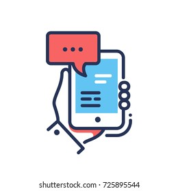 Online Chat - modern vector single line design icon. An image of a mobile device, smart phone, tablet with a messenger application, word space, hand. Internet conversation.