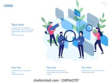 Online chat, Recruitment Concept for web page, social media. Vector illustration people select a resume for a job, people fill out the form, hiring employees, recruitment agency, team work