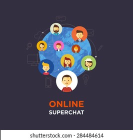 Online chat social media illustration. Vector