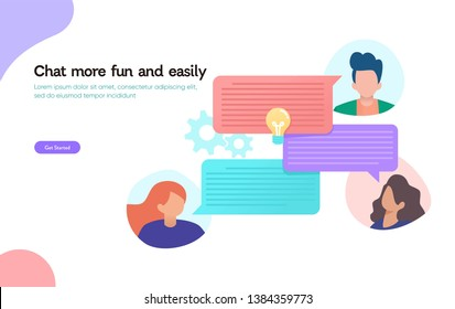 Online chat, vector illustration design concept, qna, people use  smartphone for chatting in social media, instant message can use for, landing page, template, ui, web, homepage, poster, banner, flyer