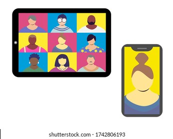 Online chat via tablet or phone vector illustration. Suitable for web conference, conronavirus social distancing, remote work/meeting purposes.