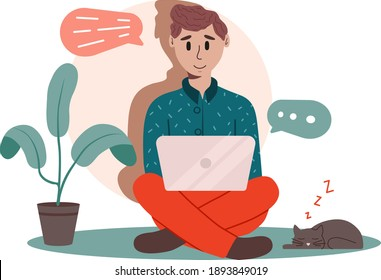 Online chat. Work at home concept. Home Office. The guy is holding a laptop on his lap. A man with a laptop. Work from home. Freelancer. Stock vector flat illustration.