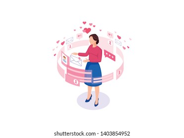 Online chatting isometric color vector illustration. Female getting message infographic. Persons social media profile 3d concept. Messaging, liking, matchmaking  isolated design element