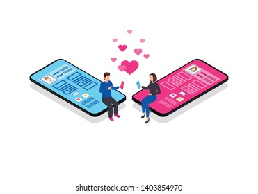 Online chatting isometric color vector illustration. Romantic connection. Persons social network profile. Messaging. Online relationship matchmaking 3d concept. Socializing webpage, mobile app design