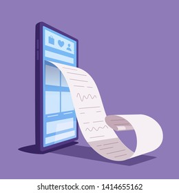 Online check. Big smartphone turned into internet shop. Cartoon vector illustration. Huge bill. Concept of mobile digital marketing and e-commerce. Supermarket in device. Online store front door