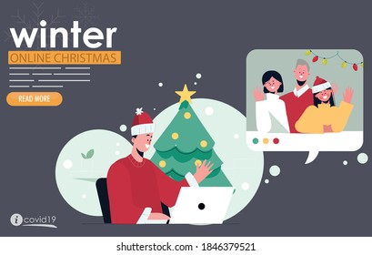 Online christmas with family videocall covid19 coronavirus