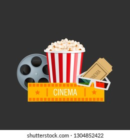 Online cinema art movie watching with popcorn, 3d glasses and film-strip cinematography concept. Eps10 realistic vector illustration.
