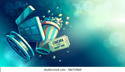 movie cinema film popcorn concept illustration watching cinematography vector strip shutterstock cinematograph retro these clip