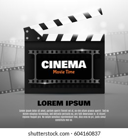Online Cinema Background With Movie Reel And Clapper Board. Vector Flyer Or Poster. Illustration Of Film Industry. Template For Your Design
