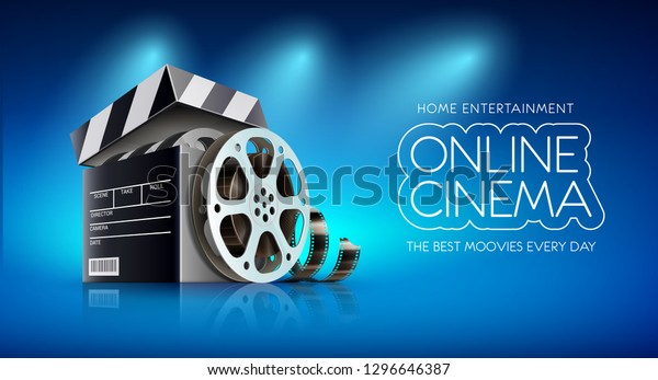 Online Cinema Banner Web Films Movies Stock Vector Royalty Free 1296646387