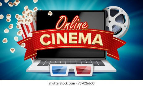 Online Cinema Poster Vector. Modern Laptop Concept. Home Online Cinema. Package Full Of Jumping Popcorn. Luxury Banner, Poster Illustration.