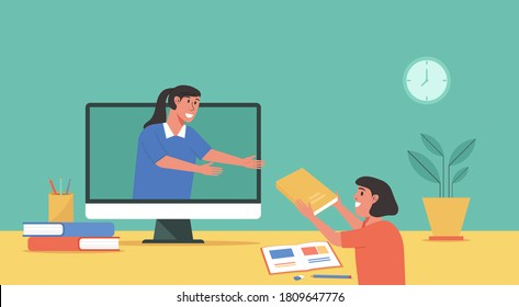 online class, online education concept, distance learning from home, student using computer assign homework to teacher, flat vector illustration