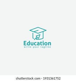 Online Class Logo Academy Cap and Mouse Pointer Symbol