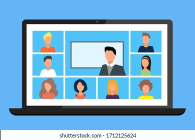Online Class. Stay School Learn Study from home via Teleconference Web Video Conference Call During Coronavirus COVID-19 Pandemic Outbreak Display on Screen. Emergency Shcool, College Test or Course