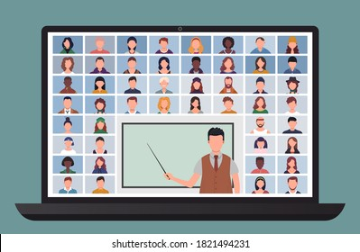 Online Class. Students studying with computer at home. Learn from home via teleconference. Video conference call on laptop during coronavirus quarantine. Distance education concept vector illustration