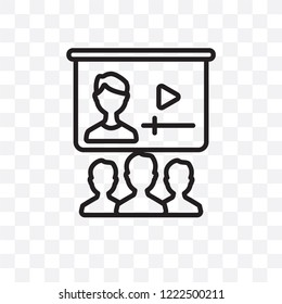 Online class vector linear icon isolated on transparent background, Online class transparency concept can be used for web and mobile