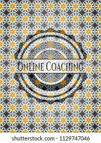 Online Coaching arabesque style badge. arabic decoration.