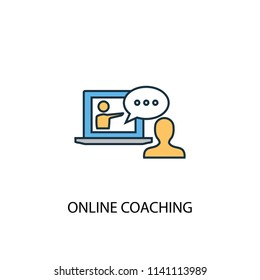 Online coaching concept 2 colored line icon. Simple yellow and blue element illustration. Online coaching concept outline symbol design from eLearning set