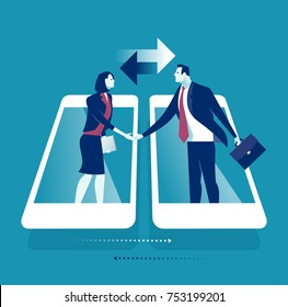 Online Communication. Businesspersons shaking hands through display of a phone. Business concept vector illustration.