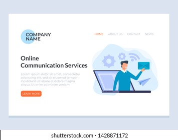 Online communication marketing service banner poster website concept. Vector flat cartoon graphic design isolated illustration