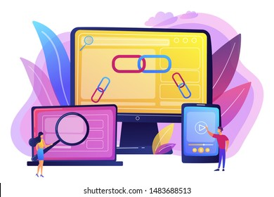 Online communication technology, internet business, marketing research. Link building, main SEO strategies, search engine optimization concept. Bright vibrant violet vector isolated illustration