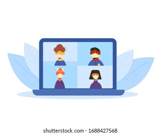 Online conference. Video call. Family distance communication. Group of coworkers taking part in video conference. Social distancing and self-isolation during coronavirus quarantine. Vector flat.