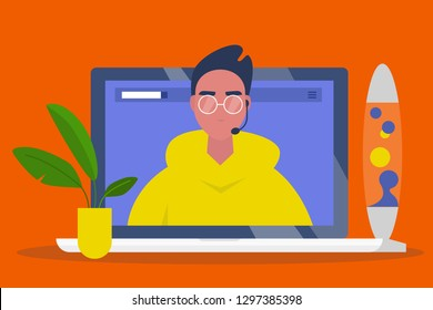 Online consultant. Operator wearing a headset. Video call. Modern technologies. Artificial intelligence. Chat bot. Young male character on a laptop screen. Flat editable vector illustration, clip art