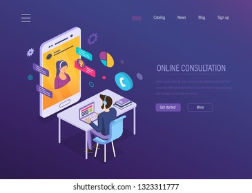 Online consultation. Online chat, voice dialogue, video conferencing, mobile technical support, help desk, customer media service. Operator of hotline serves and advises customers. Isometric vector.