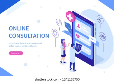 Online consultation concept with character. Can use for web banner, infographics, hero images. Flat isometric vector illustration isolated on white background.