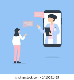 Online consultation with doctor. Modern healthcare technologies. Hospital. Young female character talking with female doctor or gynecologist on smartphone screen.