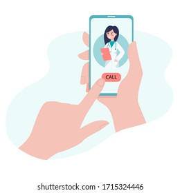 Online consultation with a doctor on a video call in a smartphone. Concept for medical web site or app. Vector flat illustration
