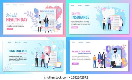 Online Consultation Family Find Doctor Service World Health Day Dental Insurance Vector Illustration. Internet Search Medical Specialist Mobile Application Tooth Treatment Patient Support